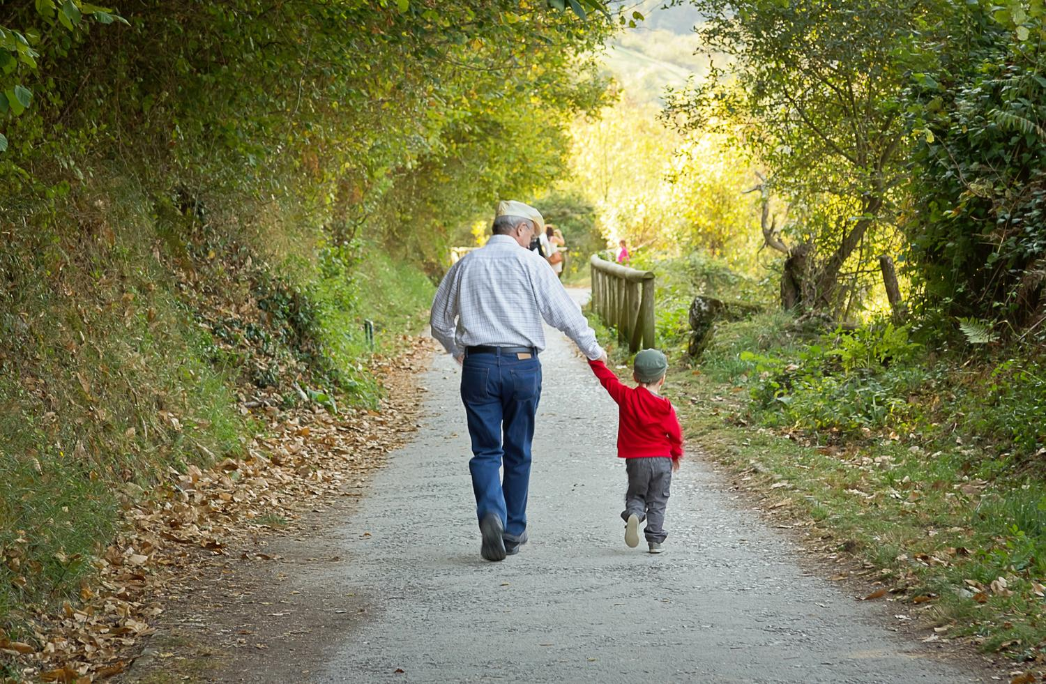 Grandfather and grandchild walking down a nature path holding hands